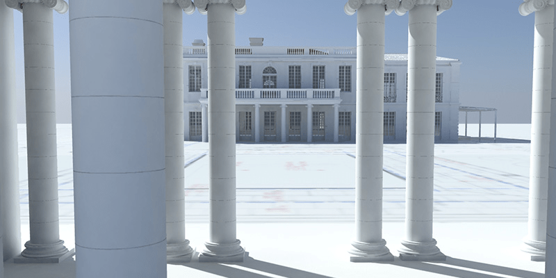 wizualizacja 3 d budynku - widok z pawilonu koło basenu na główny budynek