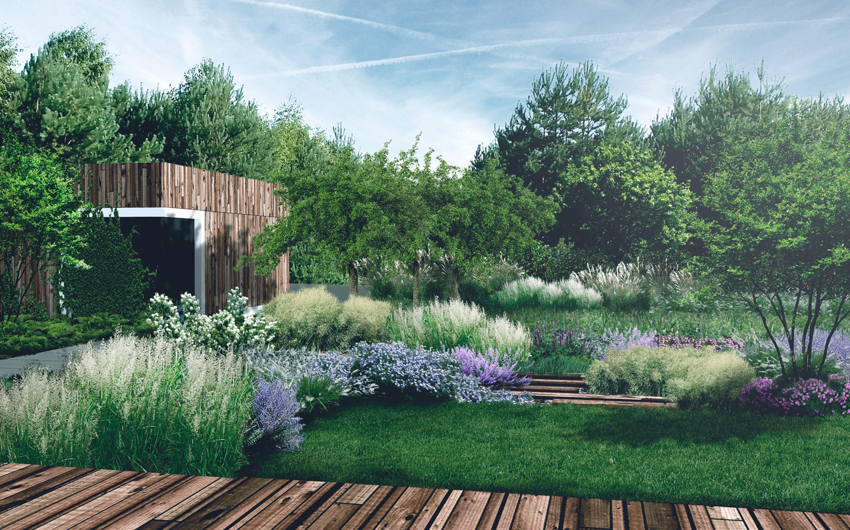ogród widziany z tarasu
